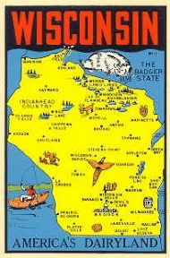 State Map Americas Dairyland, blue background