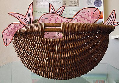a 19th-century fishing basket with 21st-century fish!