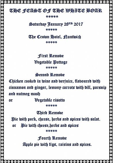menu for feast of the white boar