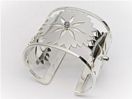 Sterling Silver Cornflower Cuff Bangle