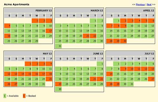 spanglefish - availability calendar
