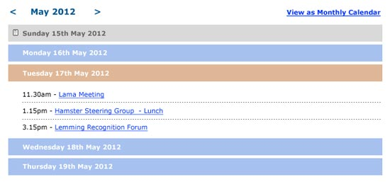 spanglefish calendar - list format