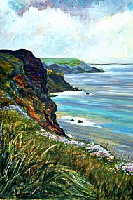 Cornish coast with Thrift