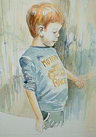 boy at rain covered window