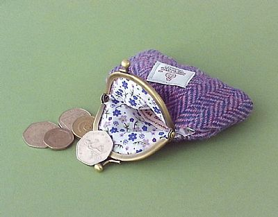 harris tweed purse with floral lining by roses workshop