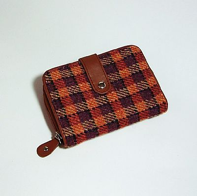 orange purple harris tweed purse