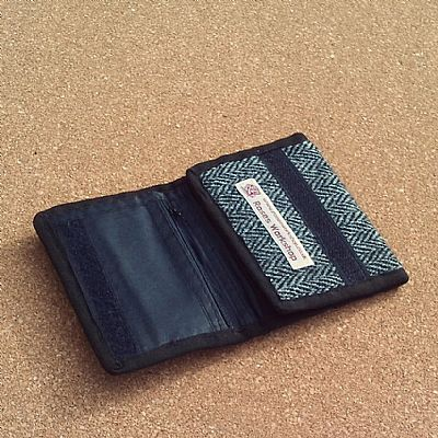 grey herringbone harris tweed wallet