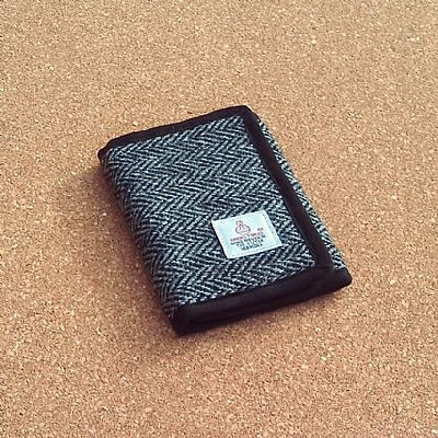 harris tweed grey herringbone wallet by roses workshop