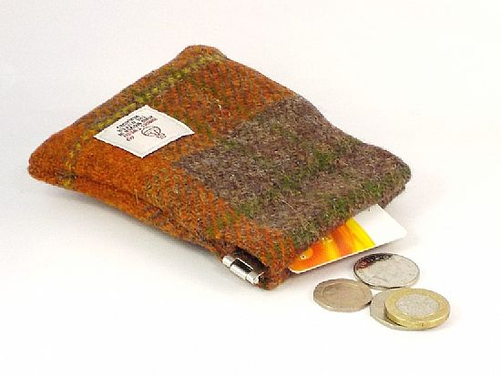 harris tweed flex top coin purse for men by roses workshop