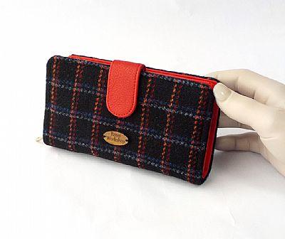 harris tweed large purse in black and red by roses workshop