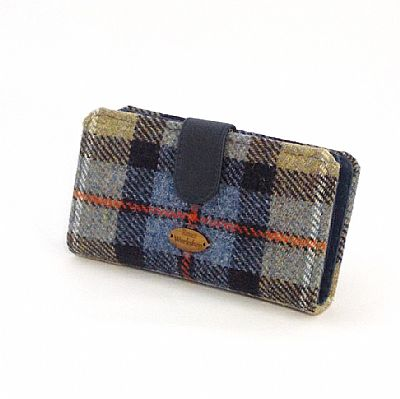 harris tweed large purse in mackenie tartan by roses workshop