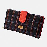 Harris tweed large purse black and red
