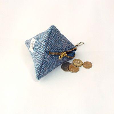 blue harris tweed purse by roses workshop