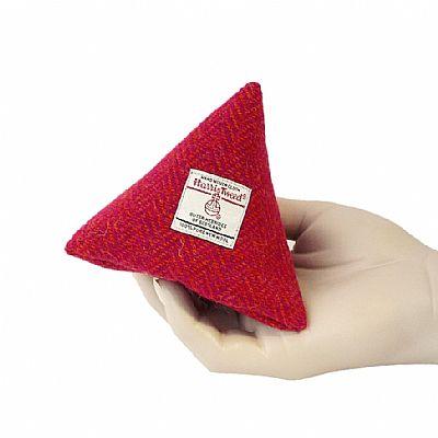 harris tweed pink pyramid purse by roses workshop