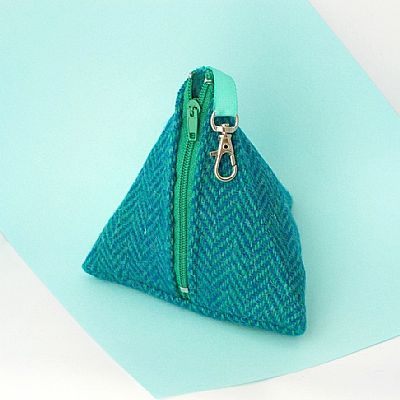 turquoise and teal herringbone purse in harris tweed by roses workshop