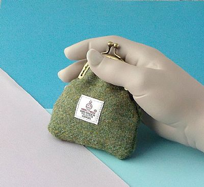 harris tweed green coin purse by roses workshop