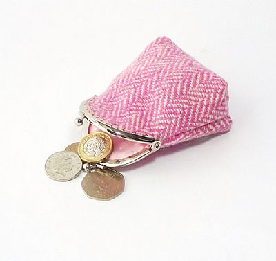 detail of harris tweed pink kiss clasp purse by roses workshop