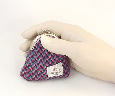 harris tweed pink and blue coin purse by roses workshop