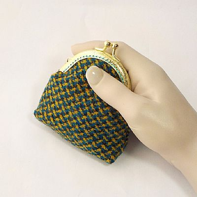 harris tweed blue and yellow coin purse by roses workshop