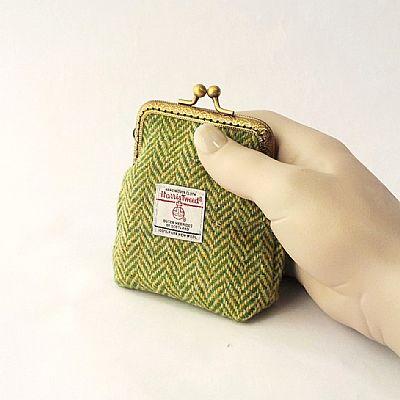 harris tweed green herringbone purse by roses workshop