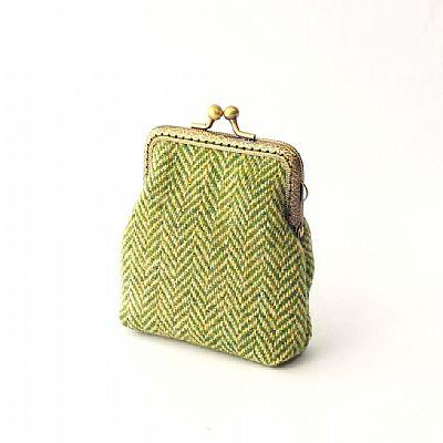 green and yellow herringbone harris tweed purse by roses workshop