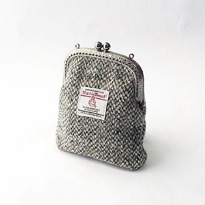 harris tweed grey coin purse by roses workshop