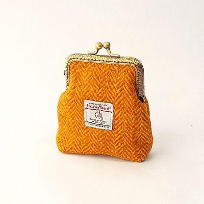 harris tweed orange herringbone purse by roses workshop