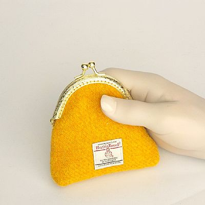 harris tweed yellow coin purse by roses workshop