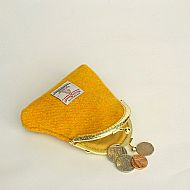 Harris tweed kiss clasp purse yellow