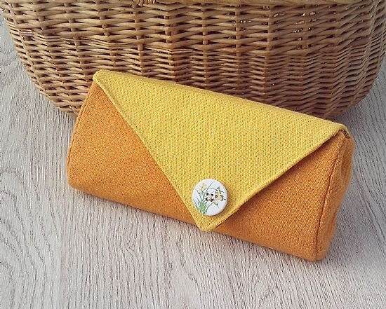 yellow orange donegal tweed clutch bag by roses workshop