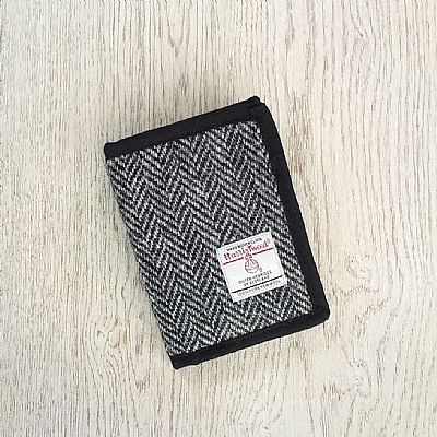 grey herringbone harris tweed wallet by roses workshop