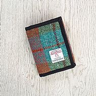 Harris tweed wallet brick red turquoise green