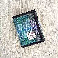 Harris tweed wallet green and purple