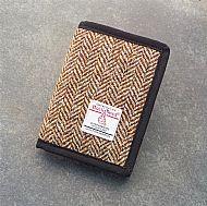 Harris tweed wallet brown herringbone