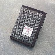 Harris tweed wallet grey herringbone
