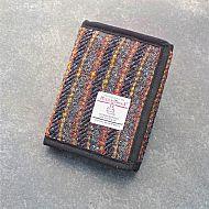 Harris tweed wallet - grey red stripes