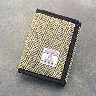 Harris tweed wallet olive herringbone