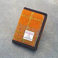 Harris tweed orange and brown wallet