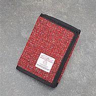 Harris tweed wallet red grey herringbone