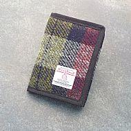 Harris tweed wallet wine red and olive green