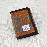 Harris tweed orange and brown wallet