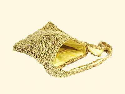 inside of yellow bag showing pocket