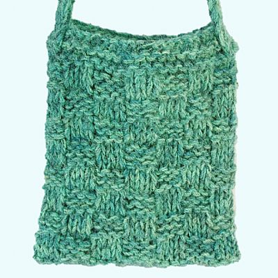 basketweave design knitted bag