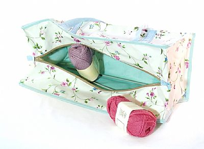 spring flowers knitting bag