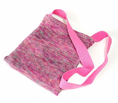 pink wool bag with webbing strap