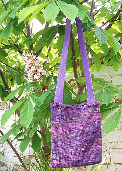 purple knitted shoulderbag by roses workshop