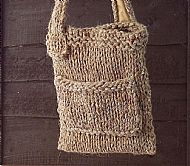 Chunky knit brown bag with front pocket