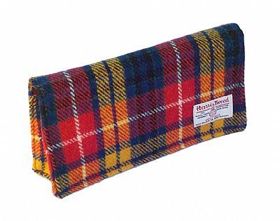 back of bright tartan harris tweed clutch bag by roses workshop