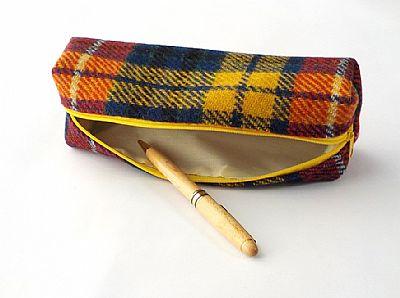 open tartan harris tweed pencil case by roses workshop showing wipe clean inside