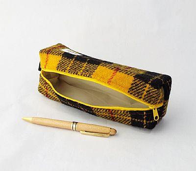 detail of harris tweed macleod pencil case by roses workshop showing wipe clean inside